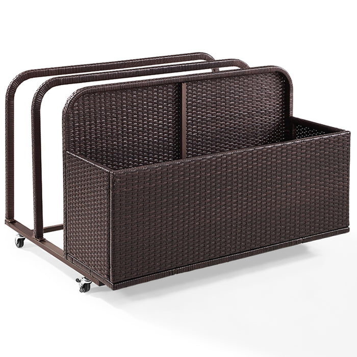 Crosley CO7303-BR Steel Frame Palm Harbor Outdoor Wicker Float Caddy - Brown
