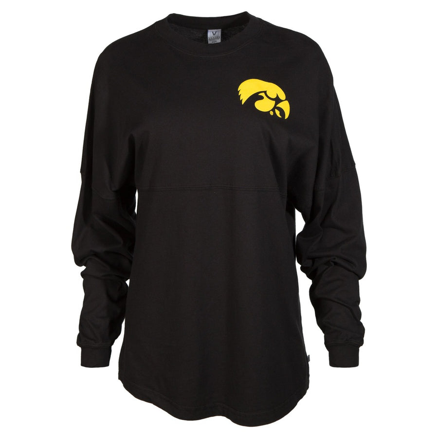Official NCAA University of Iowa Hawkeyes ON IOWA HERKY THE HAWK! Women's Long Sleeve Spirit Wear Jersey T-Shirt