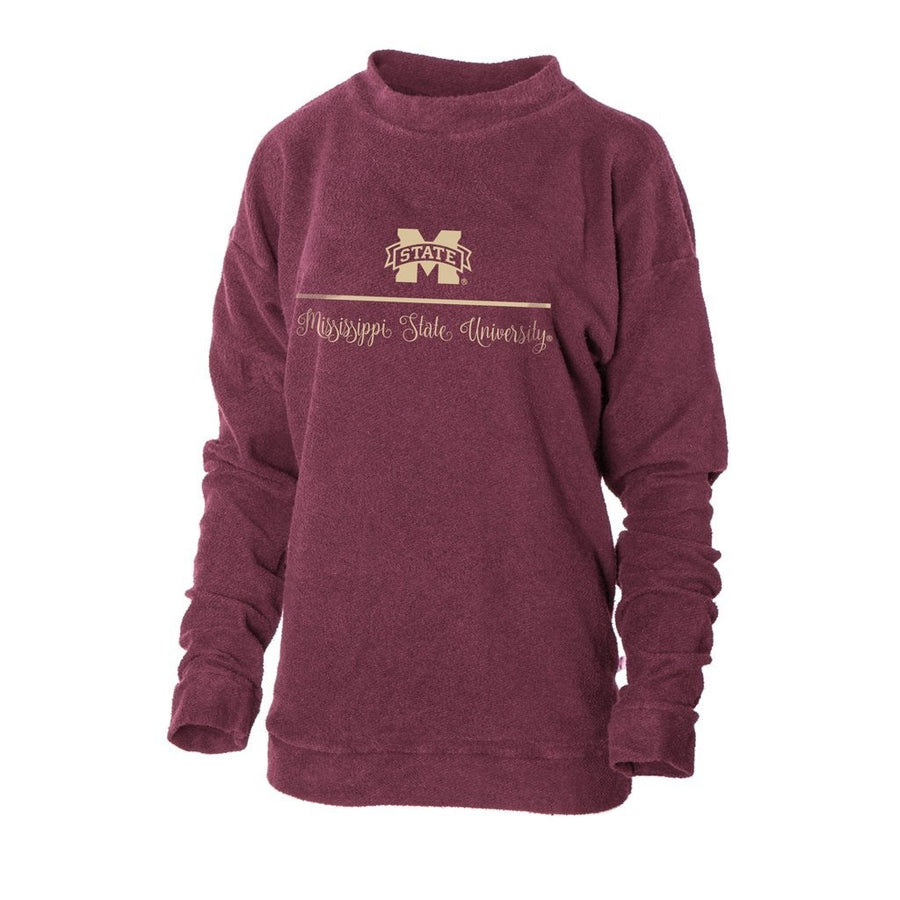 Official NCAA Mississippi State University Bulldogs HAIL STATE BULLY Women's Herrington Fleece Crew Neck Sweatshirt