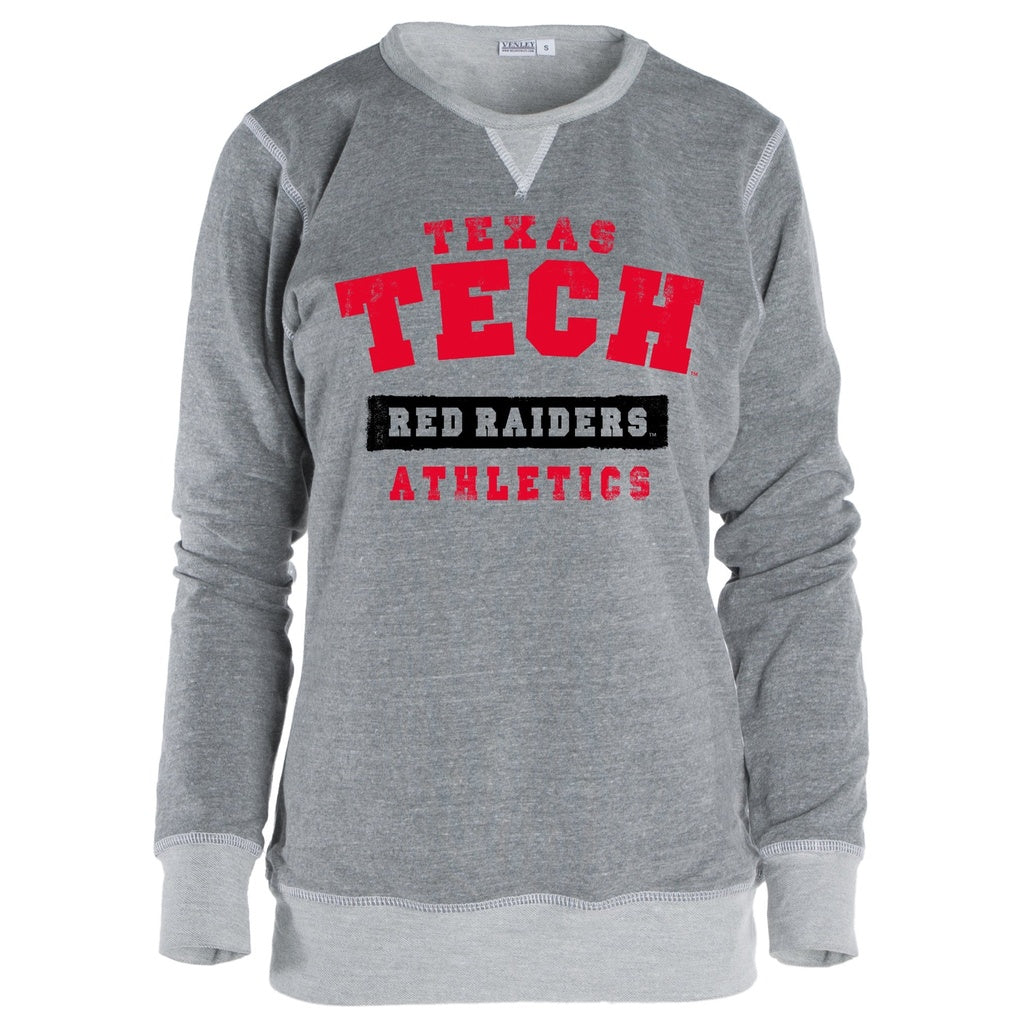 Official NCAA Texas Tech University Red Raiders TTU Masked Raider WRECK EM! Women's Boyfriend Fit TriBlend Crew Neck Swe