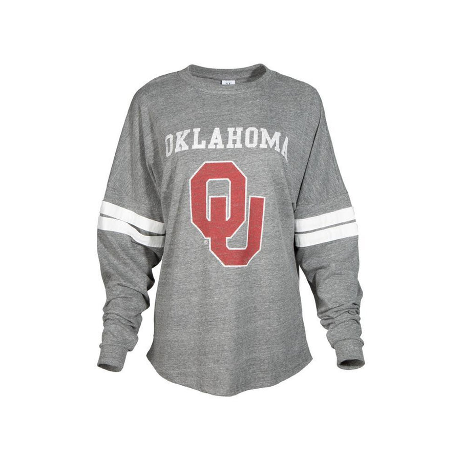 Official NCAA University of Oklahoma Sooners OU Boomer Sooner Women's Long Sleeve Tri- Blend Football Tee