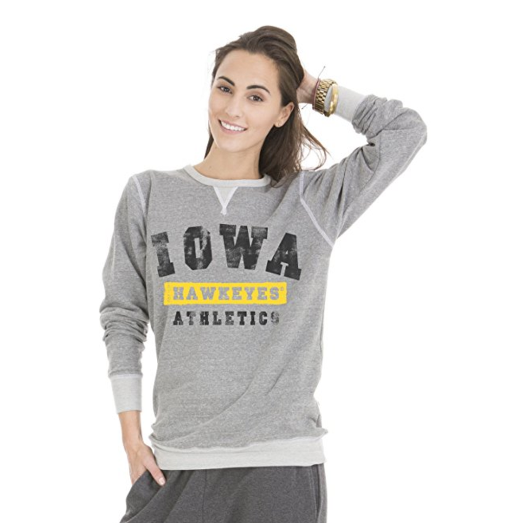 Official NCAA University of Iowa Hawkeyes ON IOWA HERKY THE HAWK! Women's Boyfriend Fit TriBlend Crew Neck Sweatshirt