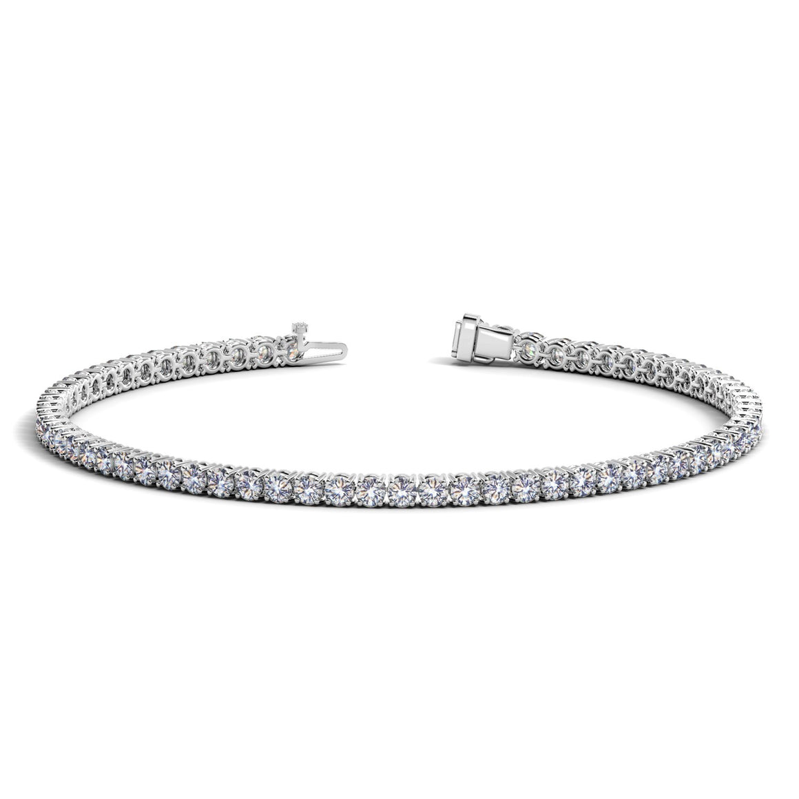 14k White Gold Round Diamond Tennis Bracelet (3 cttw)