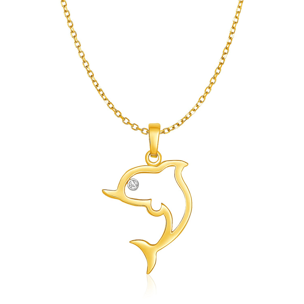 14k Yellow Gold Necklace with Gold and Diamond Open Dolphin Pendant