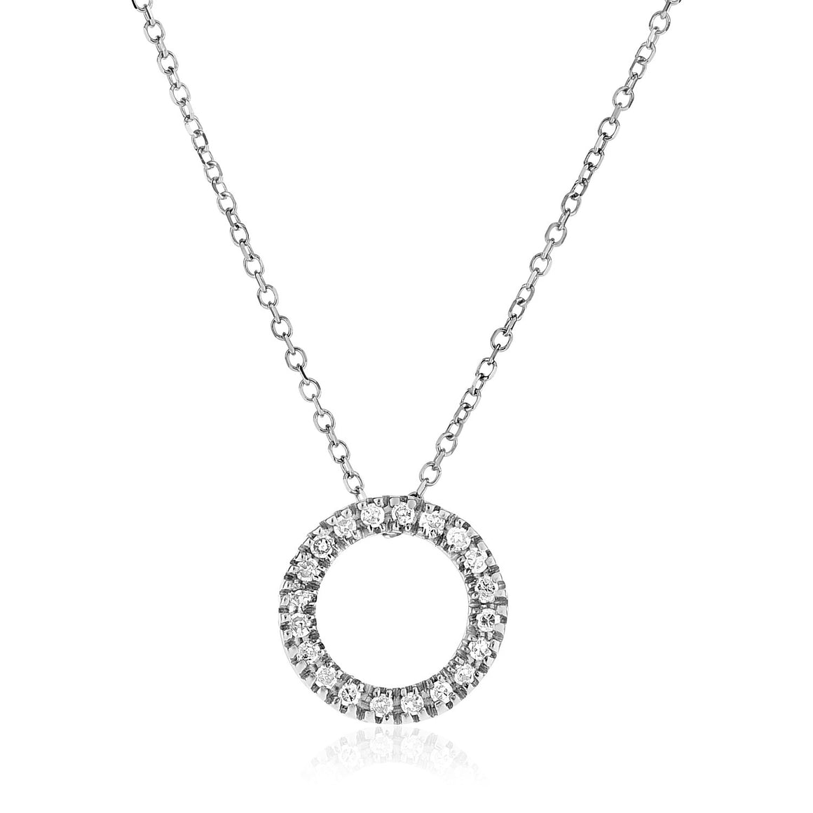 14k White Gold Necklace with Gold and Diamond Open Ring Pendant (1/10 cttw)