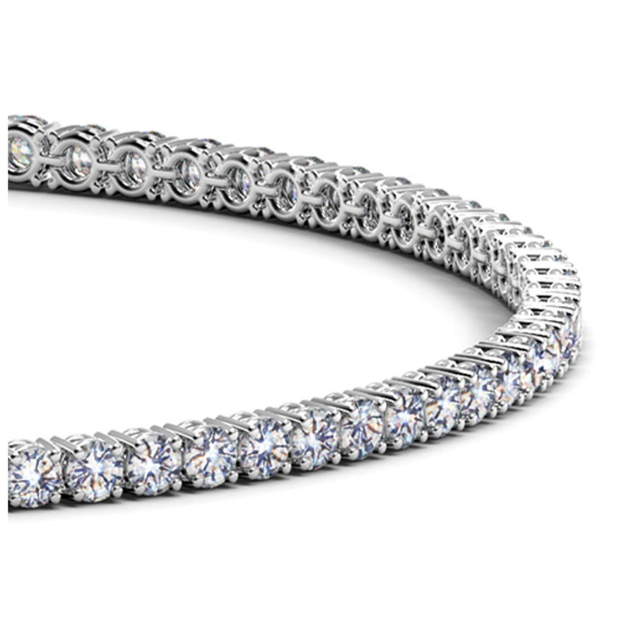 14k White Gold Round Diamond Tennis Bracelet (2 cttw)