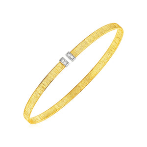 14k Two Tone Gold Narrow Silk Textured Cuff Bangle with Diamonds