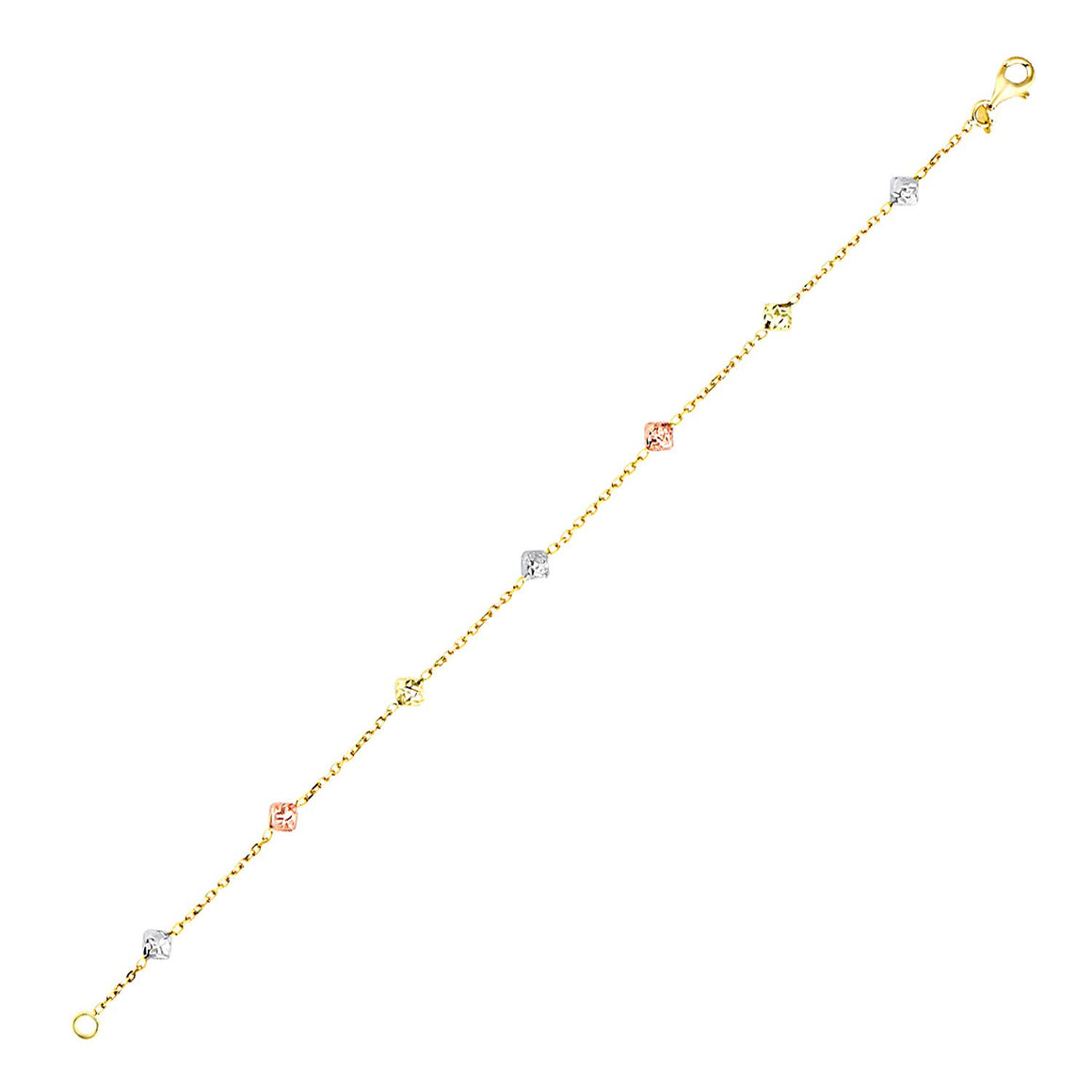 14k Tri-Color Gold Bracelet with Diamond Shape Faceted Style Stations