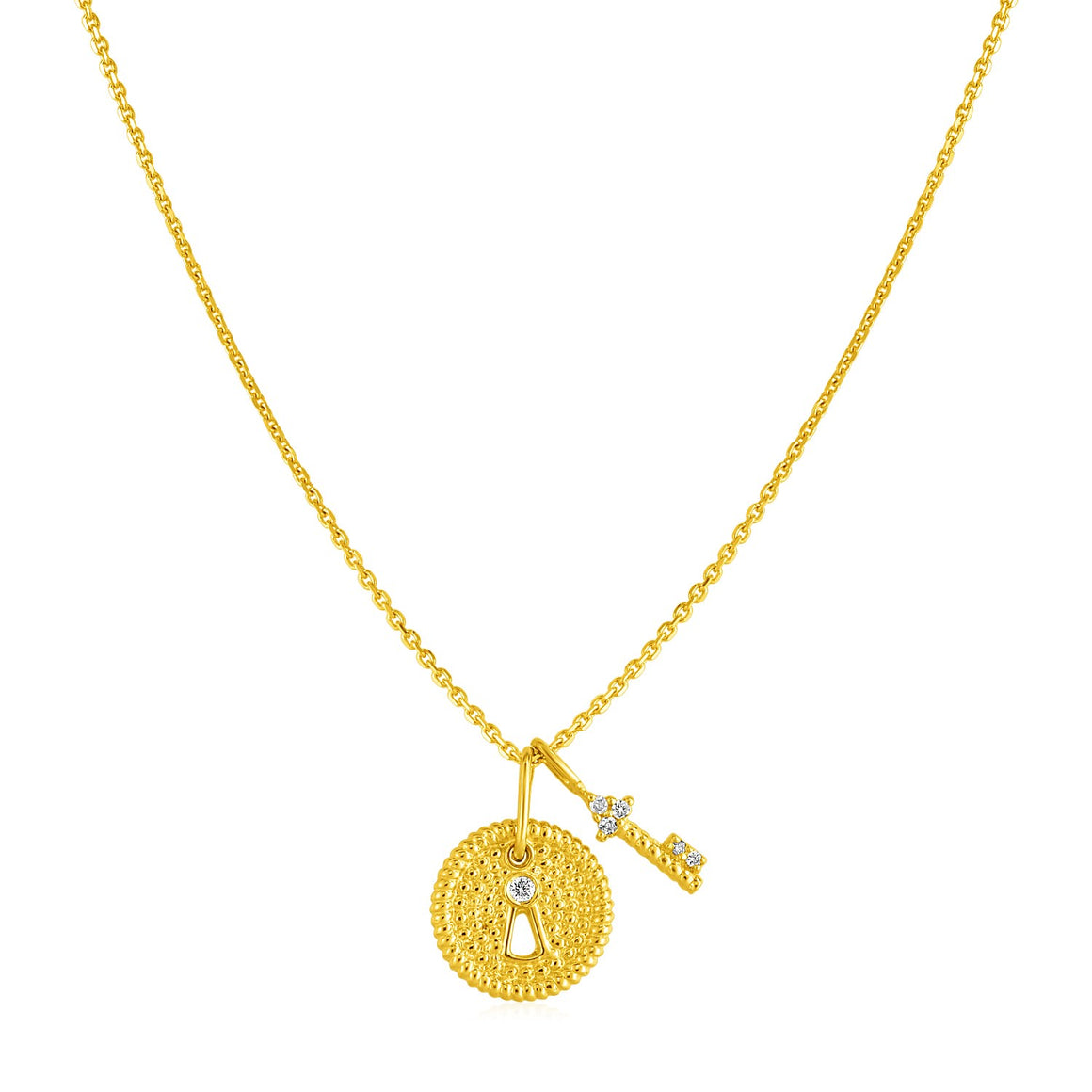 14k Yellow Gold Necklace with Lock and Key Pendant and Diamond