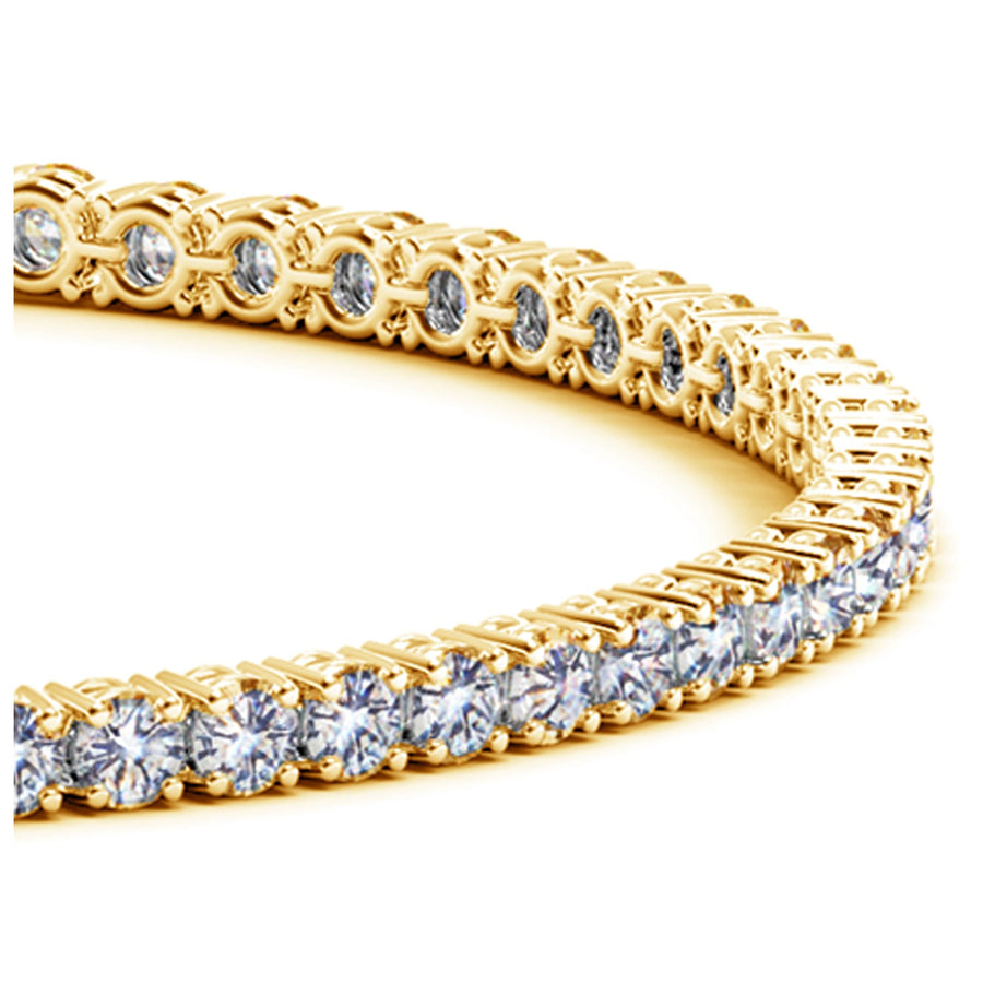 14k Yellow Gold Round Diamond Tennis Bracelet (4 cttw)