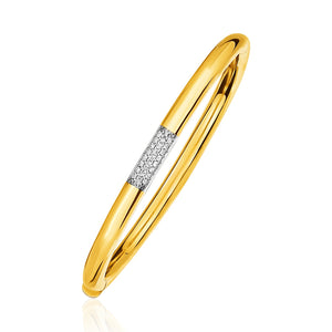 14k Gold and Diamond Domed Bangle Bracelet with Clasp (1/5 cttw)