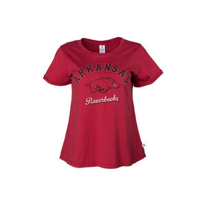 Official NCAA University of Arkansas Razorbacks GO BIG RED HOGS! Arkansas Fight!  Women's Rayon Spandex Basic Crew Neck