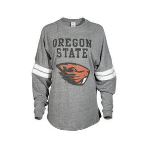 Official NCAA Oregon State University Beavers OSU Benny Beaver Women's Long Sleeve Tri- Blend Football T-Shirt