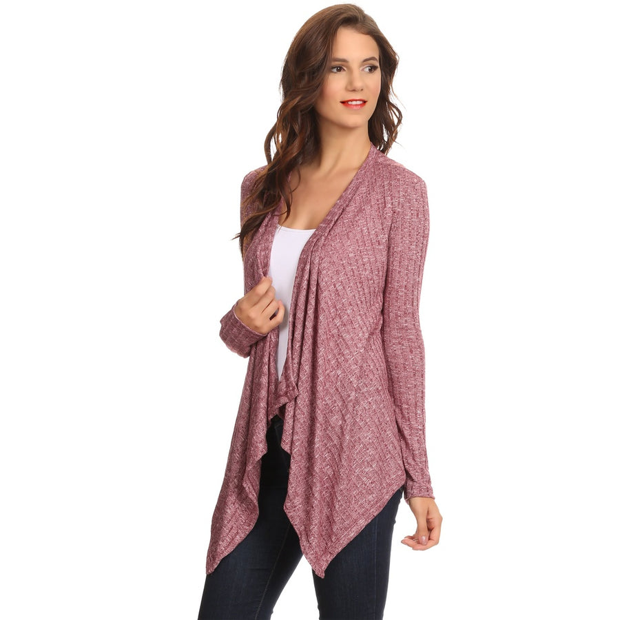 Women's Ribbed Cardigan Short Draped Open Front Small to 3XL Athleisure Made in USA