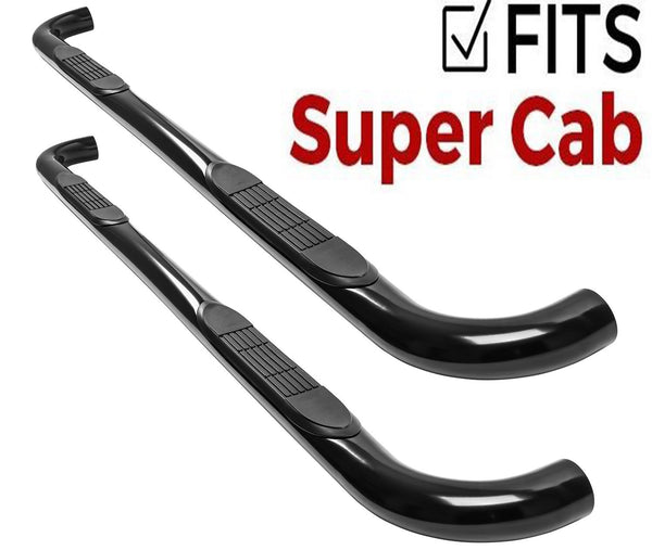 3in Black Tube Step Nerf Bar Ford F-150 Super Cab  2015 or 2017+ Super Duty Extended Cab - Black 109681B