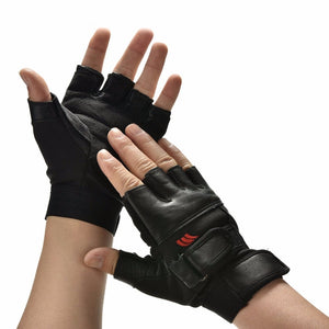 1Pair Men Black PU Leather Weight Lifting Gym Gloves Workout Wrist Wrap Sports Exercise Training Fitness Wholesale