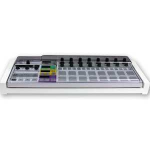 white fonik stand for arturia beatstep pro shown with decksaver cover