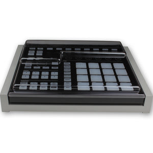 grey fonik stand for ni maschine mk2 shown with decksaver cover