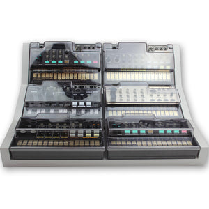 grey fonik stand for 6 korg volca shown with decksaver covers