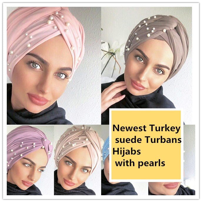 EASY TO WEAR BEADED SUEDE TURBAN/CHEMO HIJAB WRAP