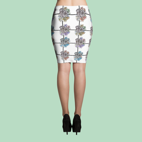 Pugs of All Flowers ~ Pencil Skirt-Clothes-Pug You