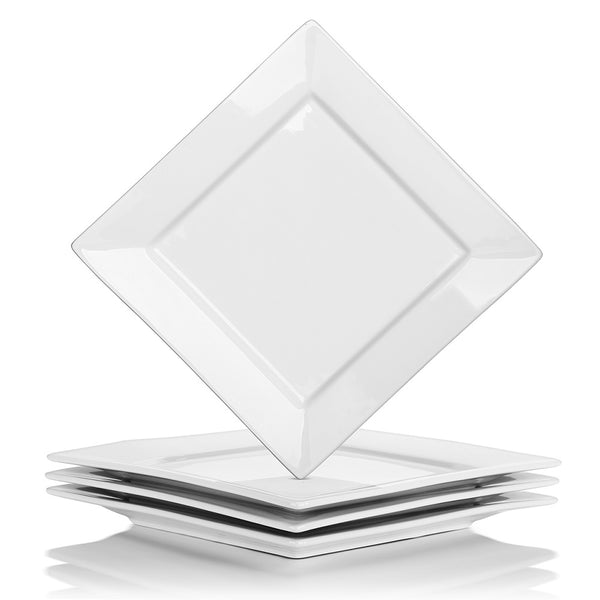 DOWAN White Porcelain Square Dinner Plates