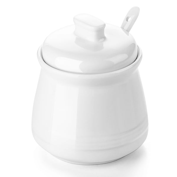 DOWAN 12-Ounce Ceramic Sugar Bowl with Sugar Spoon and Lid for Home and Kitchen, Set of 1