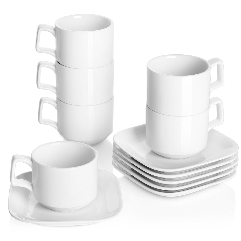 DOWAN Porcelain Coffee Cups with Square Saucers