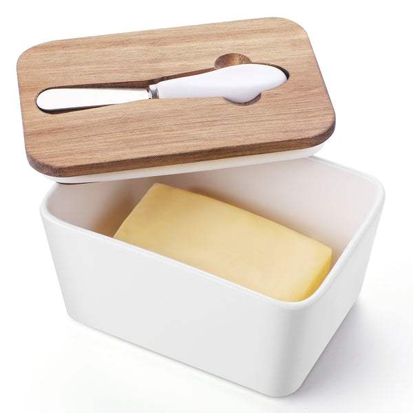 DOWAN Large Butter Storage Container with Healthy Wooden Lid and Steel Knife, Set of 1