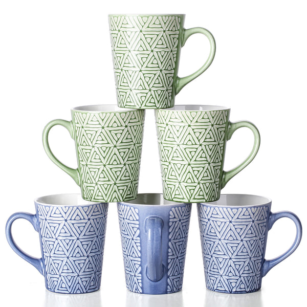 DOWAN 13-Ounce Blue and Green Porcelain Mugs for Coffee, Tea,  Cocoa, Set of 6