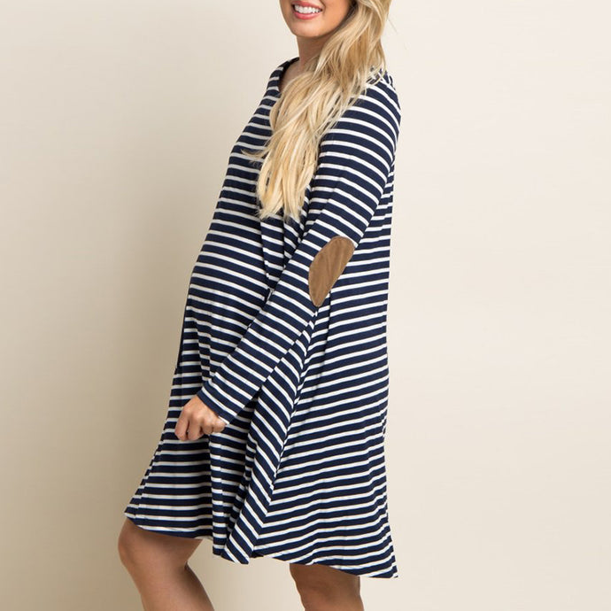 Maternity Striped Casual Loose Long Sleeve Dress