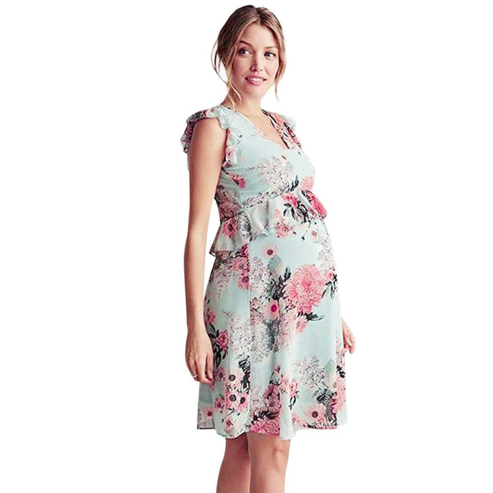 Maternity V-Neck Sleveless Floral Dress