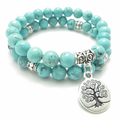 Yoga-Supreme™ Tree of Life Turquoise Bracelet