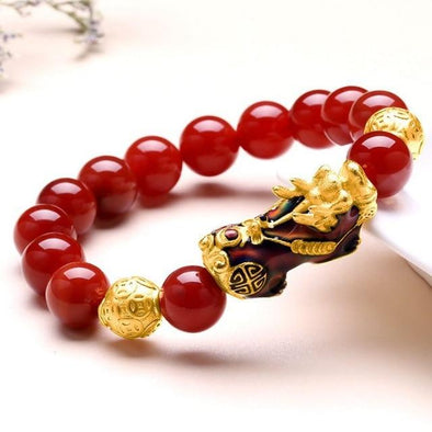 Red Agate Bracelet With Temperature Change Color Lucky Pixiu Brave Troops Fengshui Jewelry
