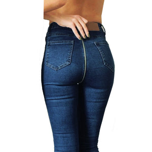 Women's Back Zipper Sexy Pencil Stretch Skinny Denim Jeans