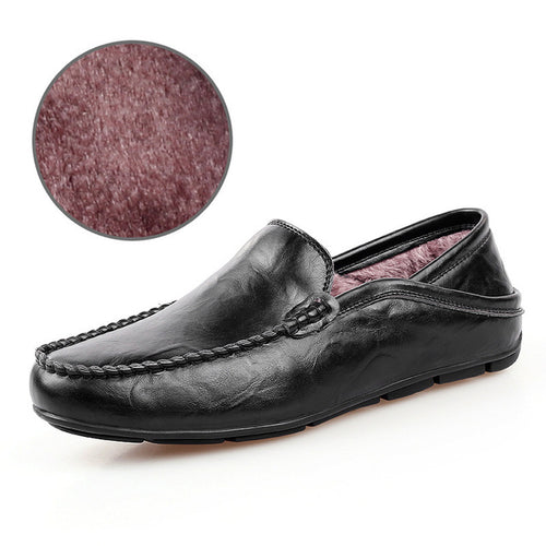 Men's Genuine Leather Plush Loafer Casual Winter Shoes In Various Colors