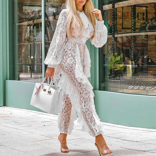 Glamaker Lace transparent mesh ruffle jumpsuit Women winter loose lantern sleeve playsuit White sexy outwear jumpsuits rompers