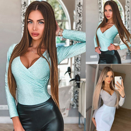 Women's Solid Sexy Cross V-Neck Long Sleeve Jumpsuit Top