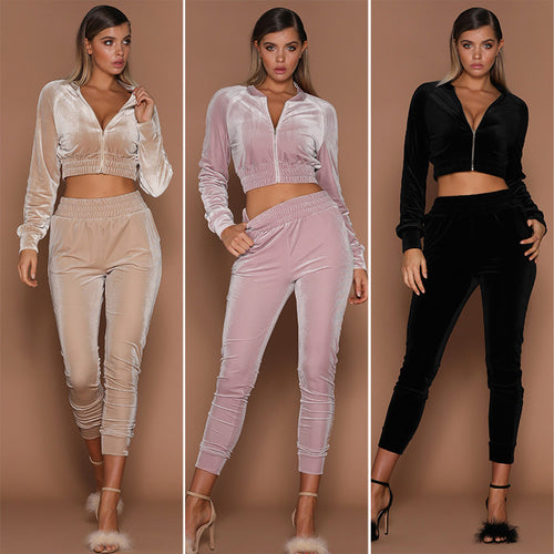 Women's 2 Piece Velvet Casual Jogging Suit Set