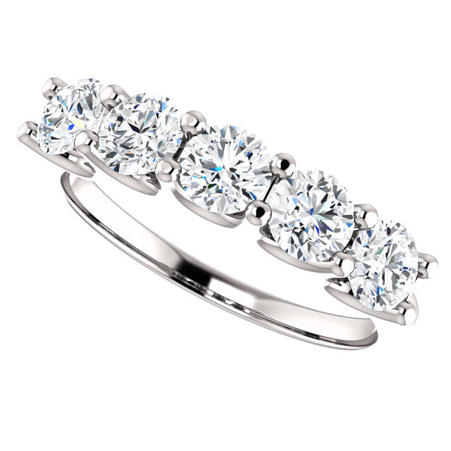 1.33ct 14k Five Diamond Wedding Band