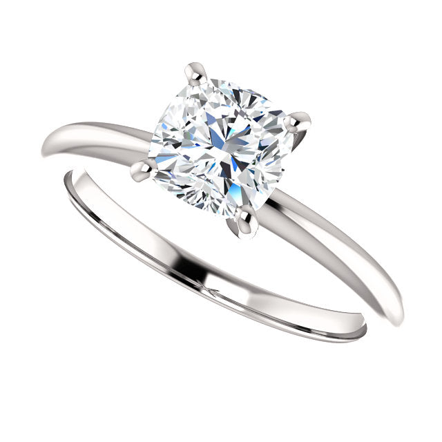 The Mila - Solitaire Cushion Cut Diamond Engagement Ring 4 Prong