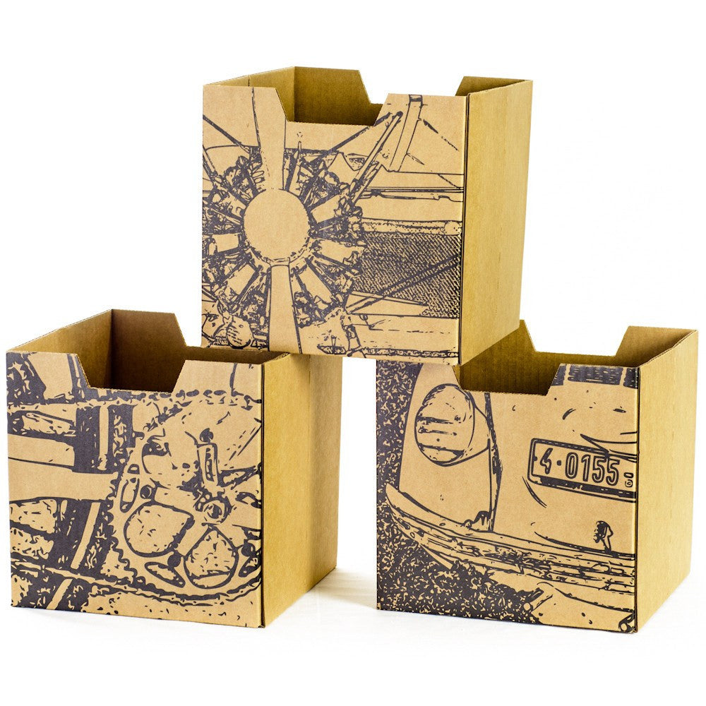 City Print Kids Storage Bins, close-up airplane, bicycle, VW bug faces