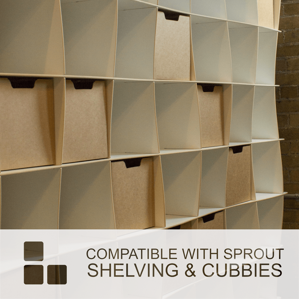 Bird Print Kids Storage Bins are compatible with Sprout Shelving and Cubbies