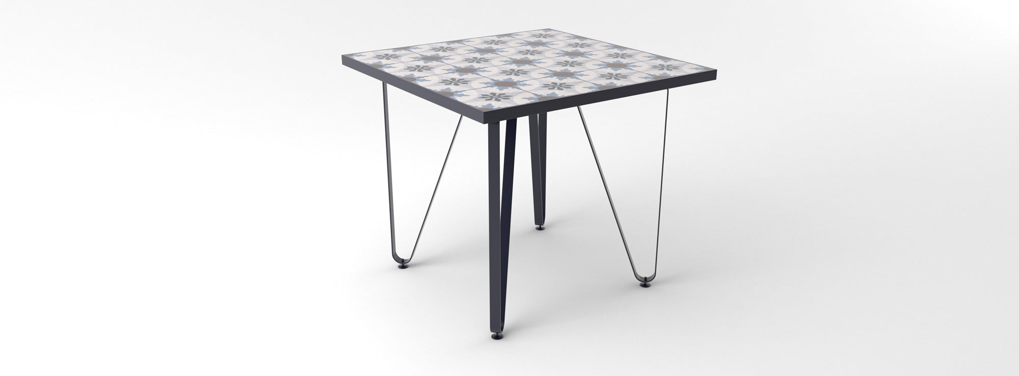 Ceramic tiled dining table with black legs and one-tiled-only fillings