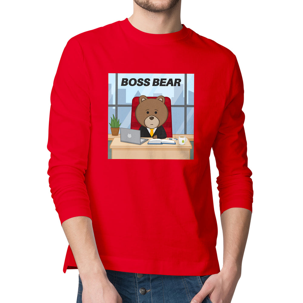 Men's Printed Boss Bear Long Sleeve T-Shirt