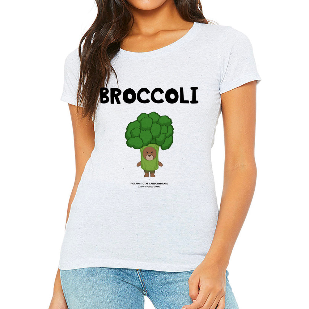 Women's Printed Broccoli Fitted T-Shirt