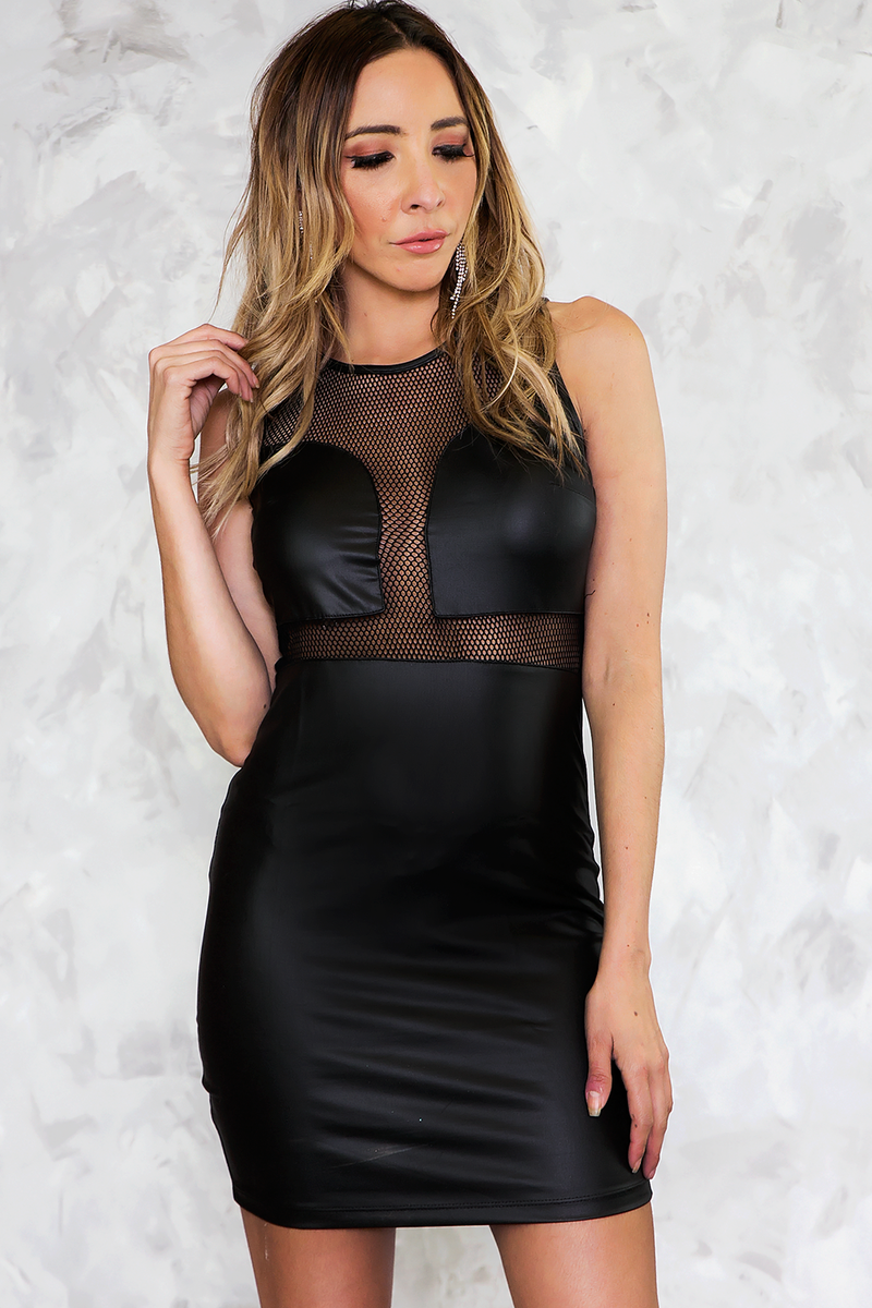 Faux Leather Mini Dress with Mesh Contrast