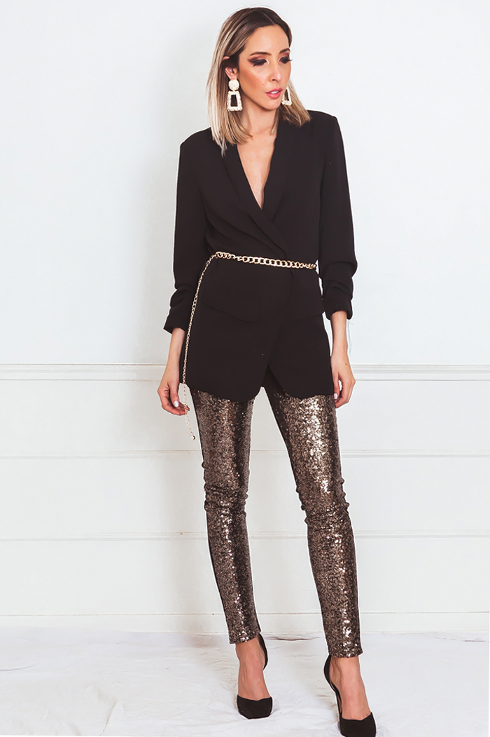 Sequin Legging Pant with Contrast - Gold