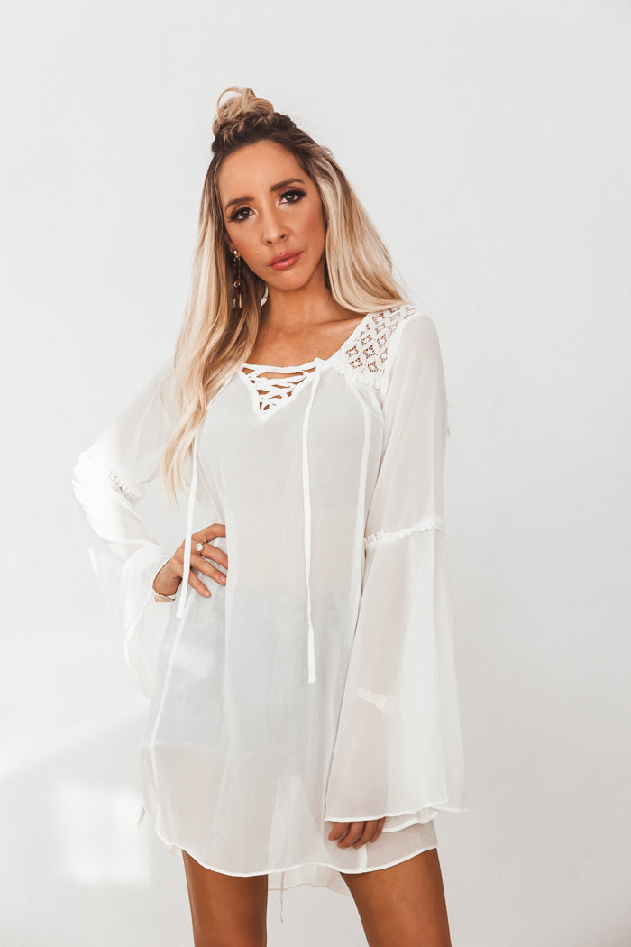 Bell Sleeve Tunic with Lace-Up Detail - Cream