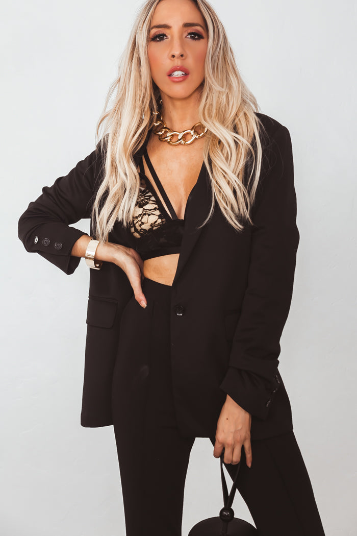 Laurent Boyfriend Blazer - Black
